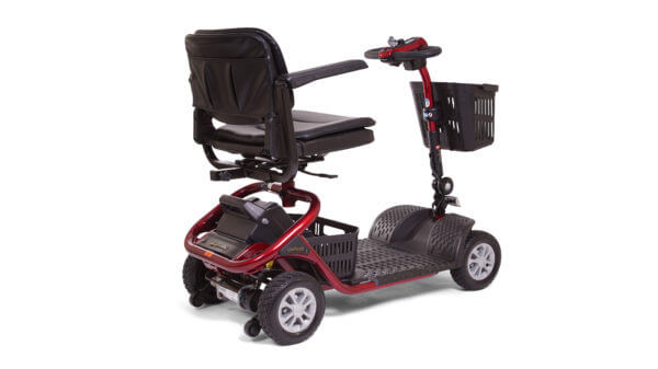 back side view of red 4 wheel LiteRider mobility Scooter