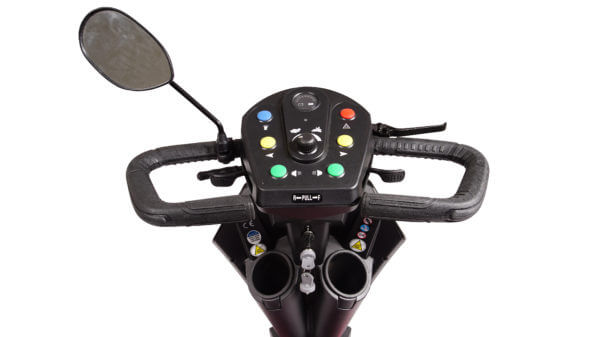 closeup of Patriot Mobility Scooter controls with cup holders