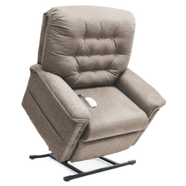 Iight Beige Recliner in lifted position