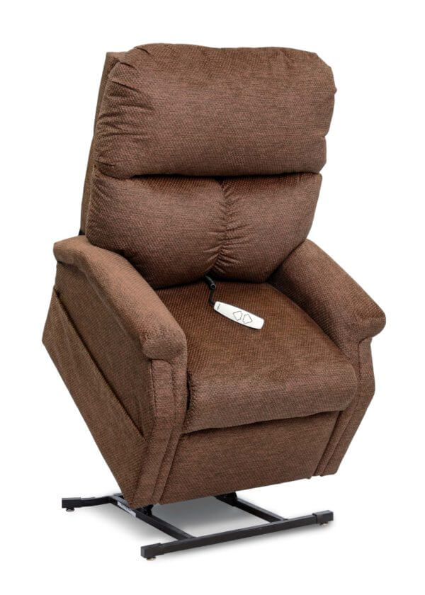 Brown Recliner in lifted position