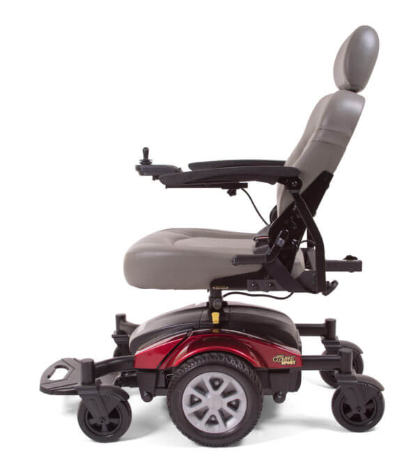 side view of red Golden Technologies Compass Sport power wheelchair