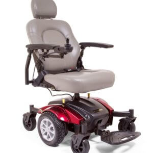 red Golden Compass Sport power wheelchair side view